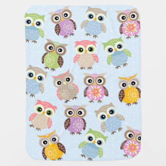 Colorful and Fun Owls in Baby Blue Baby Blanket