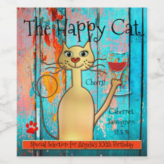 Colorful and Funny Happy Cat Custom Wine Label