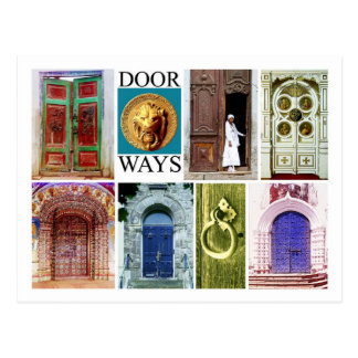 Colorful and inviting doorways postcard