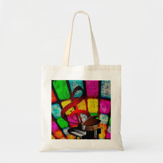 Colorful and Jazzy Treble Clef and Piano Tote Bag