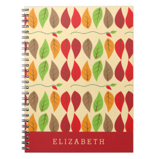 Colorful and Modern Fall Leaf Pattern Personalized Note Book