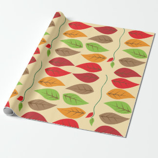 Colorful and Modern Fall Leaf Pattern Gift Wrap