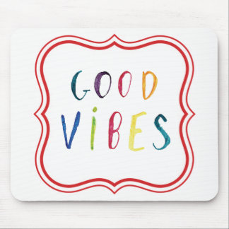 Colorful and Simple Good Vibes Custom Design Mouse Pad