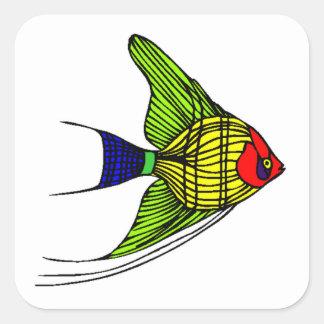 Colorful Angel Fish Square Sticker
