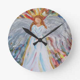 Colorful Angel Round Clock