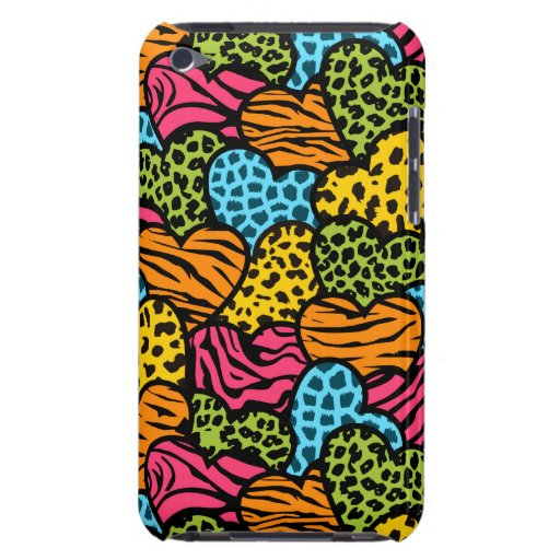Colorful  animal pattern hearts iPod touch Case-Mate case