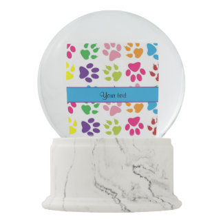 Colorful Animal Paw Prints Snow Globes