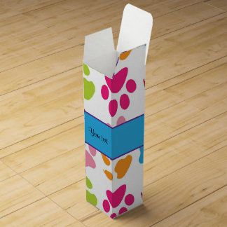 Colorful Animal Paw Prints Wine Box