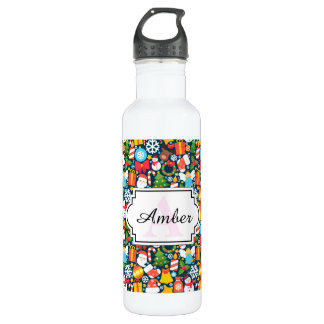 Colorful animated christmas character icon pattern 710 ml water bottle
