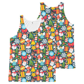 Colorful animated christmas character icon pattern All-Over print singlet