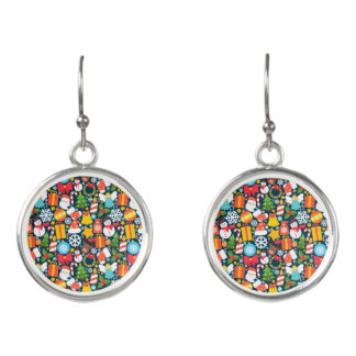 Colorful animated christmas character icon pattern earrings