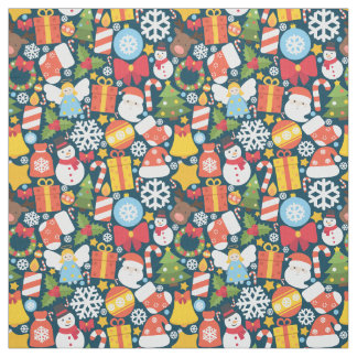 Colorful animated christmas character icon pattern fabric
