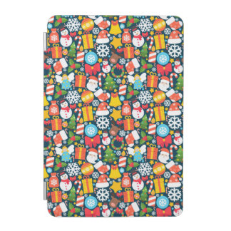 Colorful animated christmas character icon pattern iPad mini cover