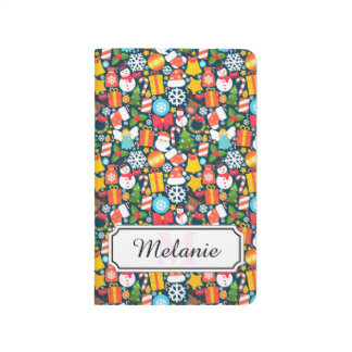 Colorful animated christmas character icon pattern journal