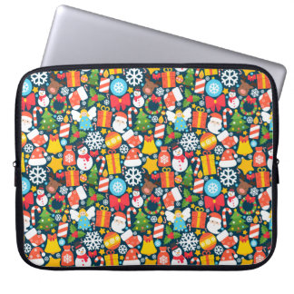 Colorful animated christmas character icon pattern laptop sleeve