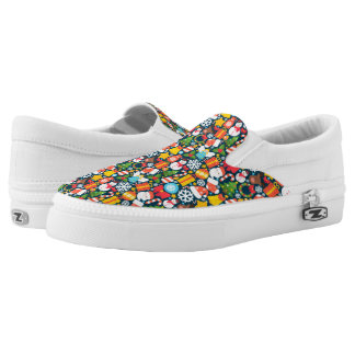 Colorful animated christmas character icon pattern slip on shoes