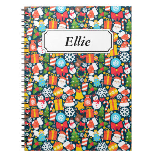 Colorful animated christmas character icon pattern spiral notebook