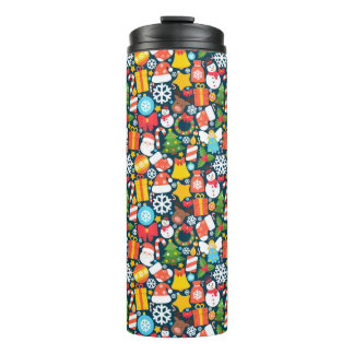 Colorful animated christmas character icon pattern thermal tumbler