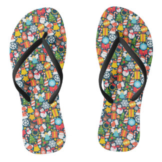 Colorful animated christmas character icon pattern thongs