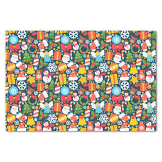 Colorful animated christmas character icon pattern tissue paper