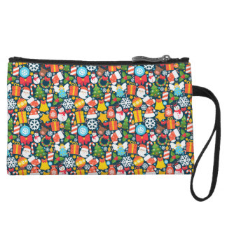 Colorful animated christmas character icon pattern wristlet
