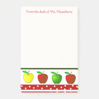 Colorful Apples Teachers Personalized Note Pad Post-it® Notes