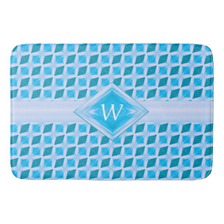 Colorful Aqua Diamond Ice Pattern Monogram Bath Mat