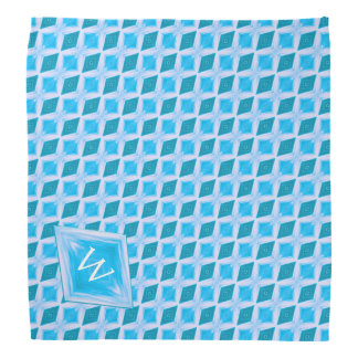 Colorful Aqua Diamond Pattern Custom Monogram Bandana