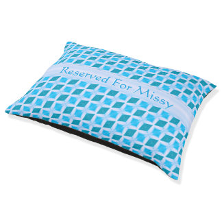 Colorful Aqua Diamond Pattern Custom Name Pet Bed