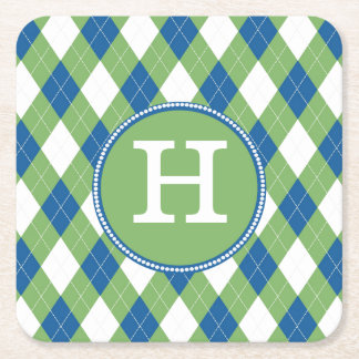 Colorful Argyle and Custom Monogram Paper Coasters