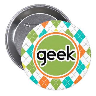 Colorful Argyle Pattern Pinback Button