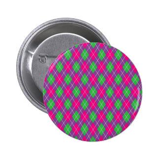 Colorful argyle pattern pinback buttons