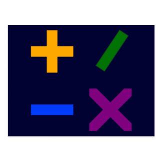 Colorful Arithmetic Symbols Postcard