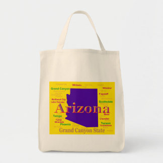 Colorful Arizona State Pride Map Canvas Bag