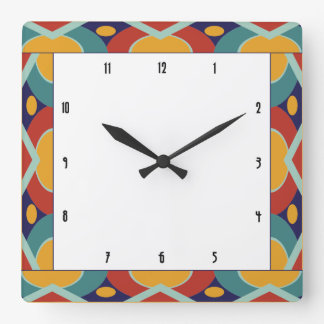 Colorful art deco border square wall clock