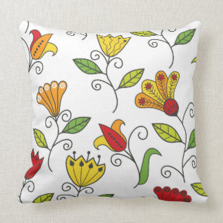 Colorful Art Deco Large Flower White Background Cushion