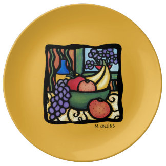 Colorful Art Mixed Fruit Yellow Porcelain Plate