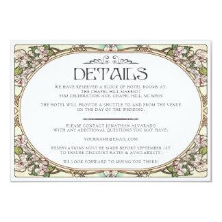 Colorful Art Nouveau Wedding Details Card (Set #9)