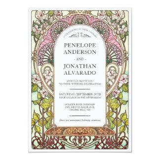 Colorful Art Nouveau Wedding Invitations (Set #9)