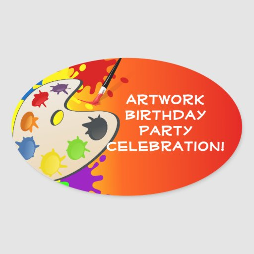 Colorful Art Palate Party Stickers