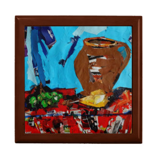 Colorful Art Still Life  Tile Gift Box, Golden Oak Large Square Gift Box
