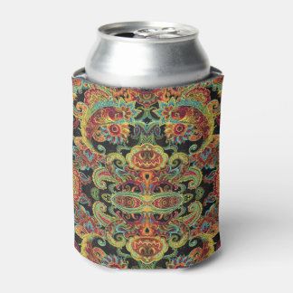 Colorful artistic drawn paisley pattern can cooler