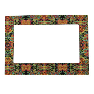Colorful artistic drawn paisley pattern frame magnets