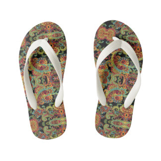 Colorful artistic drawn paisley pattern kid's thongs