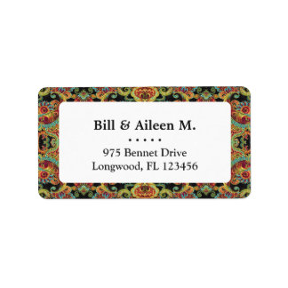 Colorful artistic drawn paisley pattern label