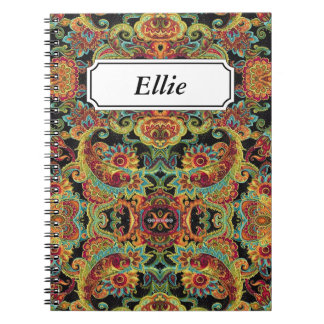 Colorful artistic drawn paisley pattern notebook