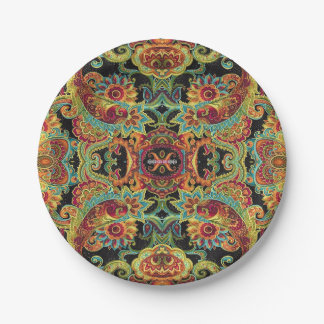 Colorful artistic drawn paisley pattern paper plate