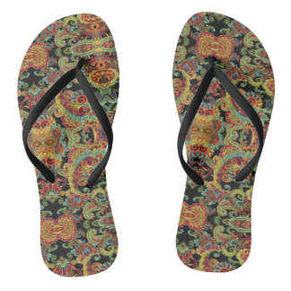 Colorful artistic drawn paisley pattern thongs