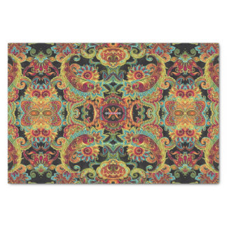 Colorful artistic drawn paisley pattern tissue paper