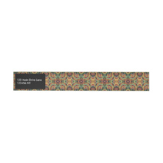 Colorful artistic drawn paisley pattern wraparound address label